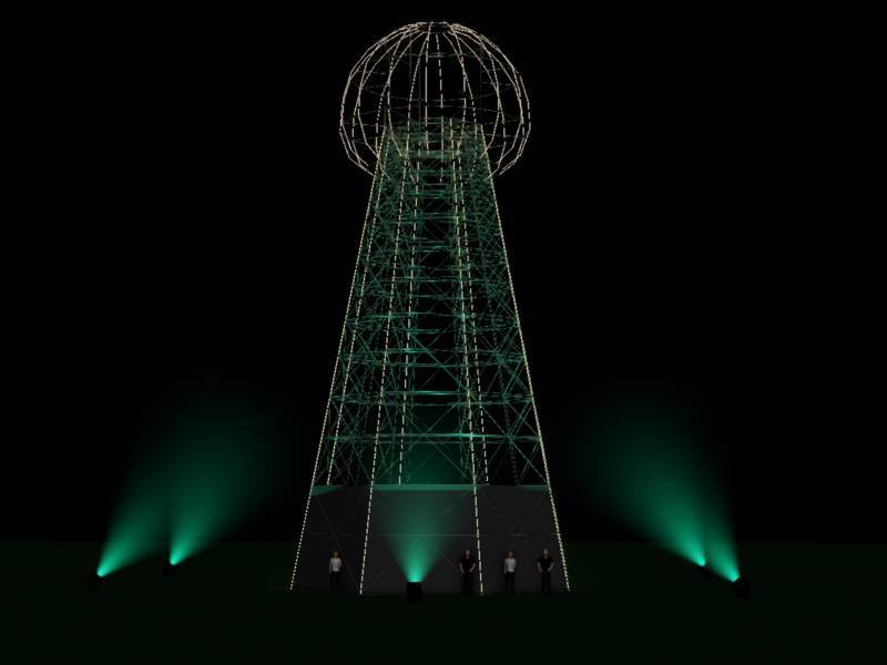 One of a kind festival stage will be the world's first replica of the historic Tesla tower
