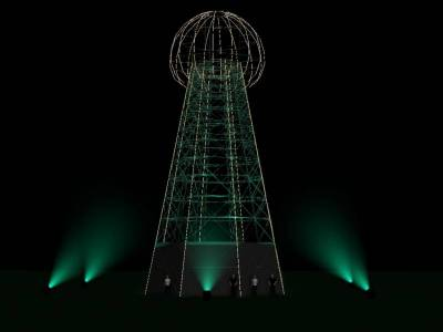One of a kind festival stage will be the world's first replica of the historic Tesla's tower